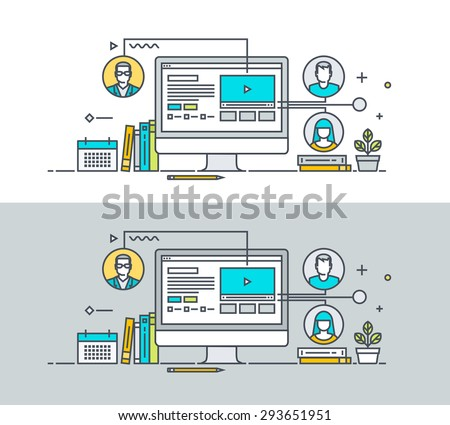 Thin line flat design concept on the theme of video tutorial, online training courses, communication, online education, conference call. Concept for website banners and promotional materials. - stock vector