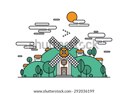Thin line flat design of abstract beautiful village on the green hills, rural landscape with meadow field, small house and wind mill. Modern vector illustration concept, isolated on white background. - stock vector