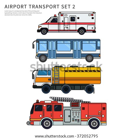 Thin line flat design of airport transport. Types of transport plying on the airfield while working. Ambulance, fire engine and passengers' bus isolated on white background