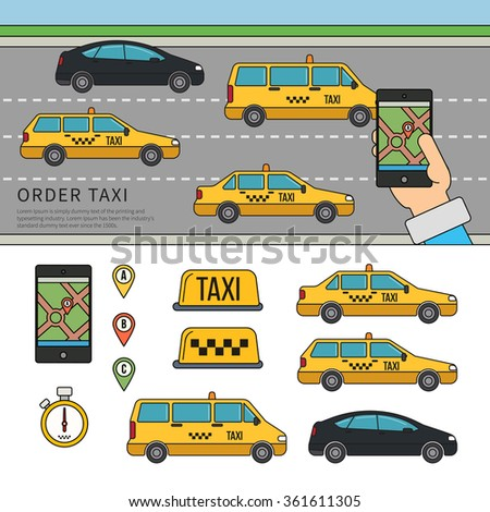Thin line flat design of app for booking taxi. Banner with hand hold mobile app for booking taxi on road background. Flat illustrations for website and brochures.  - stock vector