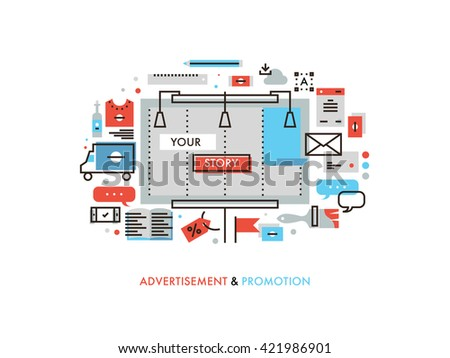 Thin line flat design of billboard advertising story promotion, promo graphics materials, marketing campaign solution for new product. Modern vector illustration concept, isolated on white background. - stock vector