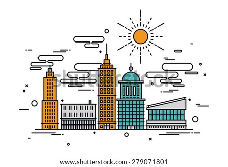 Thin line flat design of business city architecture, commercial building and street facilities, major central district with offices. Modern vector illustration concept, isolated on white background. - stock vector