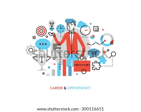 Thin line flat design of business leader with success idea, career opportunity for leadership development, marketing strategy winner. Modern vector illustration concept, isolated on white background. - stock vector