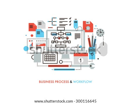 Thin line flat design of business workflow organization, marketing planning flow chart, office management process, supplies for work.  Modern vector illustration concept, isolated on white background. - stock vector