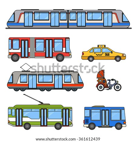 Thin line flat design of city transport. Different kinds of city transport, taxi, motorbike, tram, metro, trolley bus and buses isolated on white background - stock vector