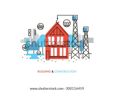 Thin line flat design of constructing building process, house construction in progress, real estate architecture development. Modern vector illustration concept, isolated on white background. - stock vector