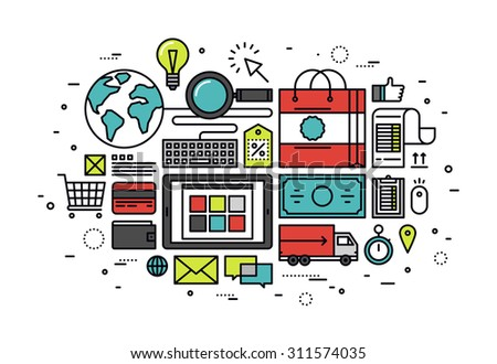 Thin line flat design of customer e-commerce buying process, internet shopping store service, web shop purchase goods with banking card. Modern vector illustration concept isolated on white background - stock vector