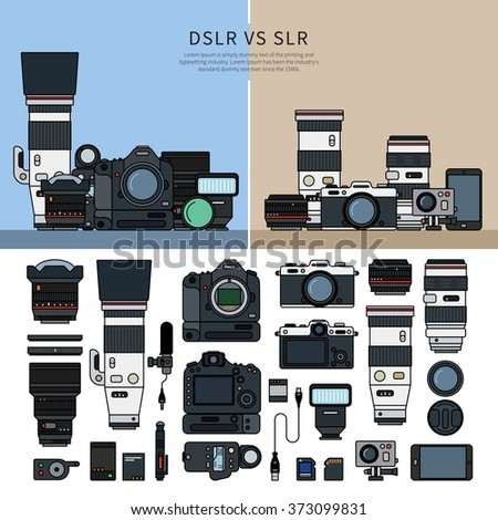 Thin line flat design of DSLR and SLR cameras. Digital single-lens reflex and single-lens reflex camera collections, parts of these cameras, lens, cables, memory cards isolated on white background - stock vector