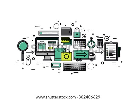 Thin line flat design of e-commerce business solution, internet consumer searching goods, web store purchase process with credit card. Modern vector illustration concept, isolated on white background. - stock vector