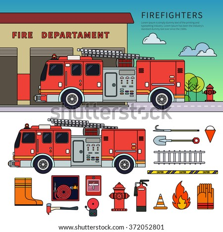Thin line flat design of fire-engine. Firefighters truck standing near fire department. Emergency concept. Fire-engine, harmer, stairs, other fire equipment isolated on white background - stock vector