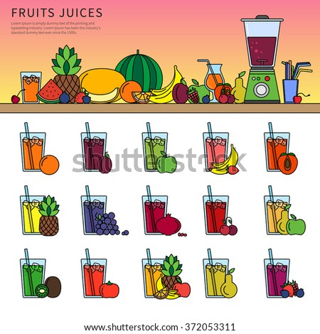 Thin line flat design of fruits and squeezer on the table. Fresh juice concept, icons for restaurant menu, fruits and juicer, glasses of different juices with tubules isolated on white background - stock vector
