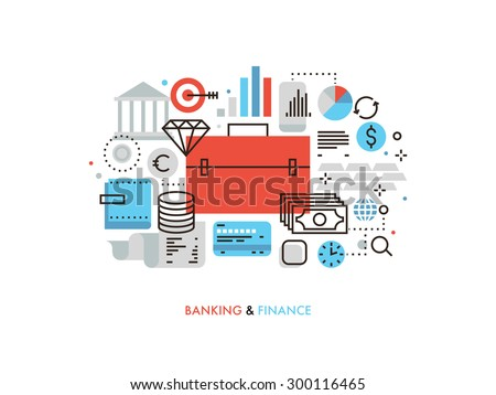 Thin line flat design of investment portfolio and finance strategy, financial services for corporate business, stock market analytics. Modern vector illustration concept, isolated on white background. - stock vector
