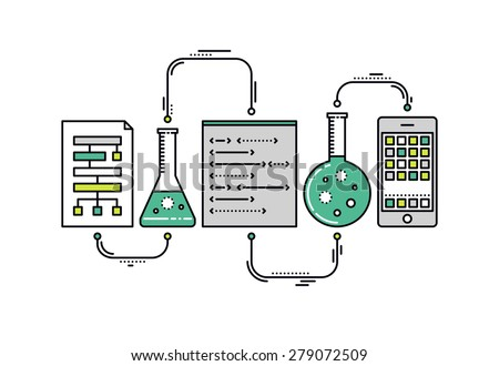 Thin line flat design of laboratory experiment with scientific datum, chemical reaction process, science big data analysis, mobile app. Modern vector illustration concept, isolated on white background - stock vector