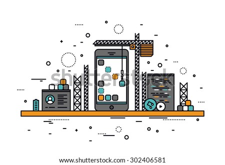 Thin line flat design of mobile app construction site, smartphone user interface building process, api coding for phone application. Modern vector illustration concept, isolated on white background. - stock vector