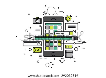 Thin line flat design of mobile apps development process, smartphone user interface construction, api testing for phone application. Modern vector illustration concept, isolated on white background. - stock vector
