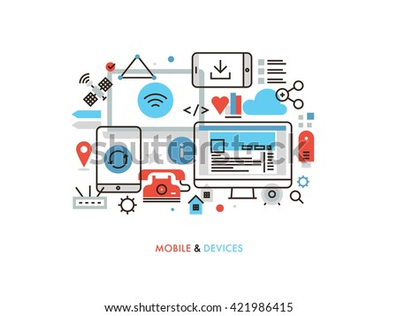Thin line flat design of mobile technology, network connection synchronization for devices, internet of things as future communication. Modern vector illustration concept, isolated on white background - stock vector
