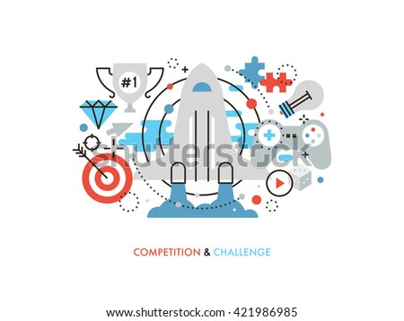 Thin line flat design of new challenge opportunity, business competition achievement winning strategy, user gamification activity. Modern vector illustration concept, isolated on white background. - stock vector