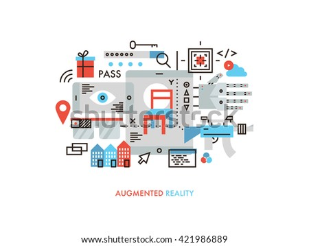 Thin line flat design of new technology of augmented reality world, future gaming with virtual user interface, visual communication. Modern vector illustration concept, isolated on white background. - stock vector