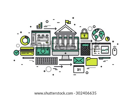 Thin line flat design of online banking account, secure money transaction, computer access for financial service and business operation. Modern vector illustration concept isolated on white background - stock vector