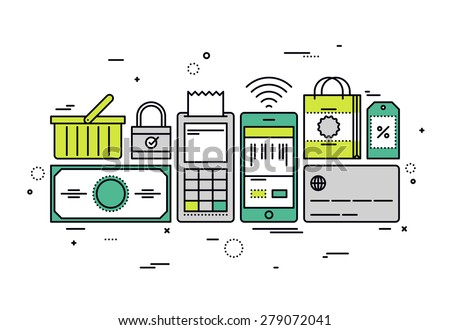 Thin line flat design of online shopping checkout, buying store goods by pos terminal, sell mass-market product via internet merchant. Modern vector illustration concept, isolated on white background. - stock vector