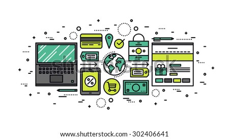 Thin line flat design of online shopping order processing, global web commerce, mass market store solution, internet retail goods. Modern vector illustration concept, isolated on white background. - stock vector