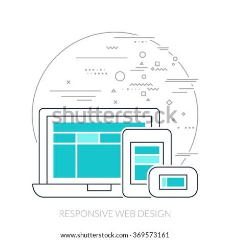 Thin line flat design of responsive web design. - stock vector