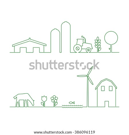 Thin line flat design of rural landscape. Thin line abstract countryside. Set of design elements for rural landscape isolated on white background. Rural landscape with house and wind mill.  - stock vector