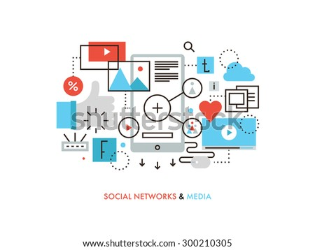 Thin line flat design of social network communication, internet media services, web community for blogging, chatting and sharing news.  Modern vector illustration concept, isolated on white background - stock vector