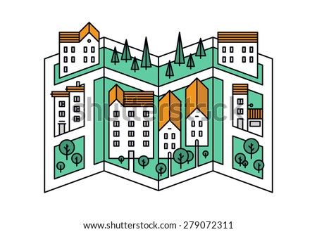 Thin line flat design of street map of small town, city district location with small buildings and green trees, village road mapping. Modern vector illustration concept, isolated on white background. - stock vector