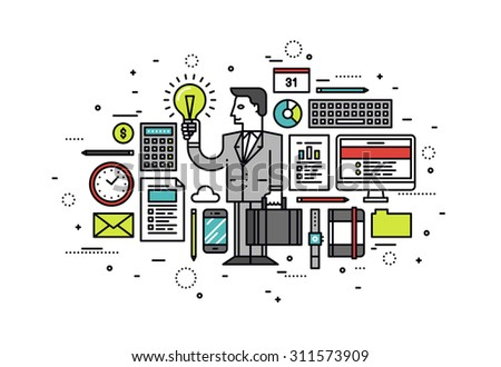 Thin line flat design of success business innovation idea, project solution for sales growth, confident businessman find opportunity. Modern vector illustration concept, isolated on white background. - stock vector
