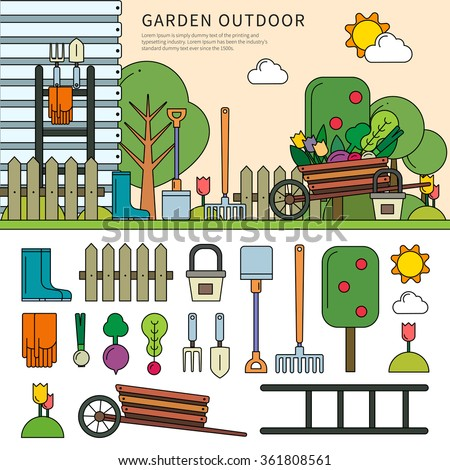 Thin line flat design of the garden outdoor in the village. Garden with household equipments in sunny days, spade, rake, vegetables and other tools isolated on white background - stock vector