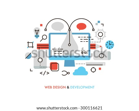 Thin line flat design of web design graphics, pen tool for creating interface elements, mobile ui and ux frames, sketching for client. Modern vector illustration concept, isolated on white background. - stock vector