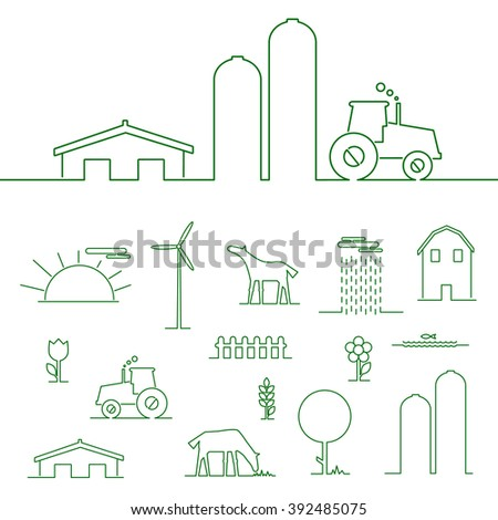 Thin line flat design rural landscape. Thin line abstract of tractor, sun and corn. Set elements rural landscape with house and wind mill. Rural landscape with farm animals. Outline rural landscape. - stock vector