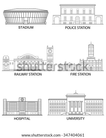 Thin line flat design. Set of isolated historical and modern buildings on a white background in a linear style. Vector illustration - stock vector