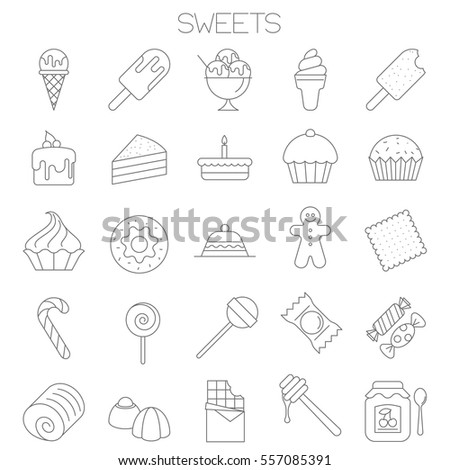 Thin line flat design sweets and desert menu vector icon set.
