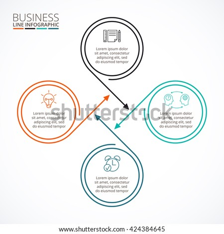 Thin Line Flat Elements Infographic Template Stock Vector