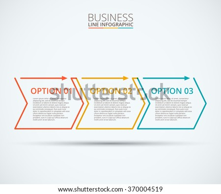 Thin line flat elements for infographic. Template for diagram, graph, presentation and chart. Business concept with 3 options, parts, steps or processes. Data visualization. - stock vector