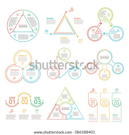 Thin line flat elements set for infographic. Template for diagram, graph, presentation and chart. Business concept with 3 options, parts, steps or processes. Data visualization. - stock vector