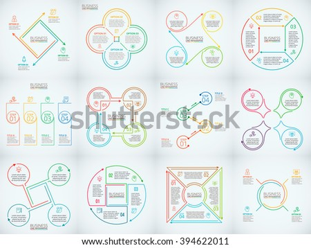 Thin line flat elements set for infographic. Template for diagram, graph, presentation and chart. Business concept with 4 options, parts, steps or processes. Data visualization. - stock vector