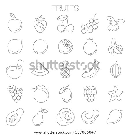 Thin line flat fresh fruits an juices  menu design vector icon set for online store, fresh an juice bar, website and application menu design.