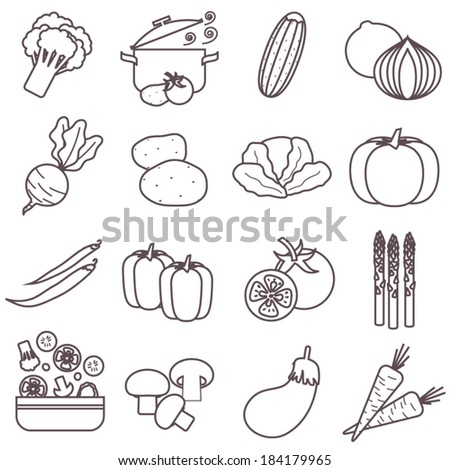 Thin line food icons set, vegetables vector collection - stock vector