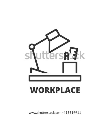Thin line icon. Flat symbol about business. workplace - stock vector