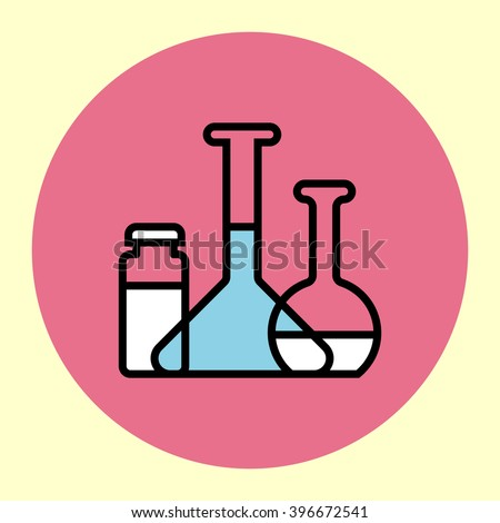 Thin Line Icon. Laboratory Flasks. Simple Trendy Modern Style Round Color Vector Illustration.