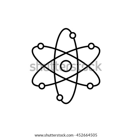 Thin line icon of nuclear power, atomic energy, model of atom, scientific research, smallest particle, molecular structure. Modern style logo vector illustration concept. - stock vector