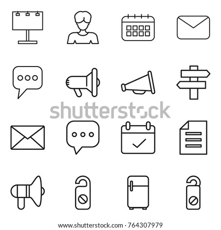Thin line icon set : billboard, woman, calendar, mail, message, megafon, loudspeaker, singlepost, sms, terms, document, do not distrub, fridge