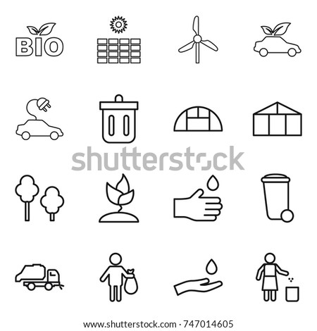 thin line icon set : bio, sun power, windmill, eco car, electric, bin, greenhouse, trees, sprouting, hand drop, trash, truck, and, garbage