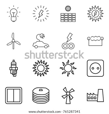 Thin line icon set : bulb, lightning, sun power, windmill, electric car, infinity, electrostatic, spark plug, socket, switch, pancakes, factory