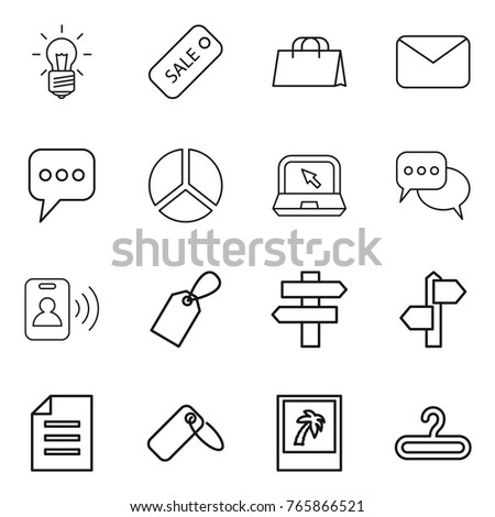 Thin line icon set : bulb, sale, shopping bag, mail, message, diagram, notebook, discussion, pass card, label, singlepost, signpost, document, photo, hanger