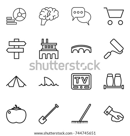 Thin Line Icon Set Diagram Brain Stock Vector 744745651 Shutterstock