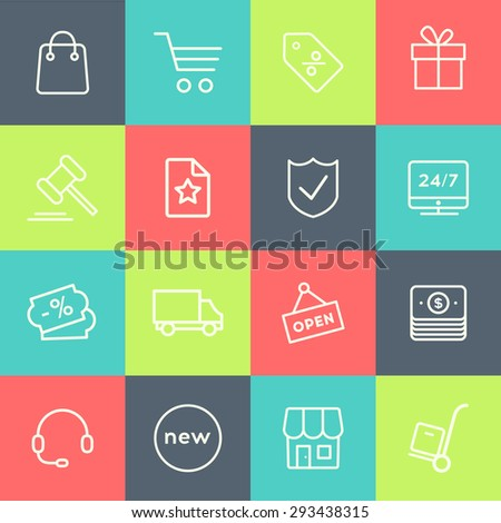 Thin line icon set for web and mobile - E-commerce, shopping. Modern minimalistic material design vector colorful symbols